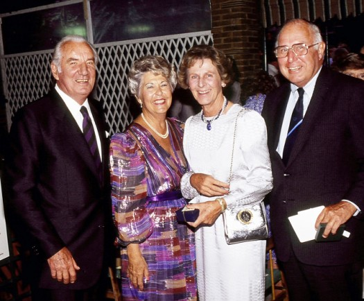 Hunter Delatour, right, was a man beloved and admired by many, including former Wimbledon champion Fred Perry, left, his wife, Bobbe, and Delatour's wife, Eugenie.